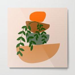 Abstract Balancing Rocks Nature Vine Plant Modern Art Print Metal Print