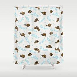 Cute slimy snail cartoon seamless vector pattern. Shower Curtain