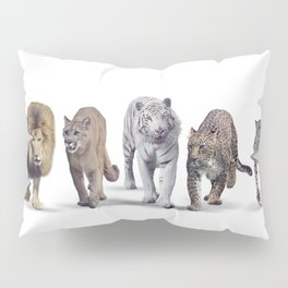 Group of Wild cats on white background Pillow Sham