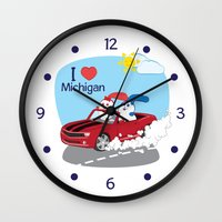 coraline Wall Clocks featuring Ernest and Coraline | I love Michigan by Hisame Artwork