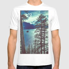 Water - Phantom Ship Island at Crater Lake, Oregon White MEDIUM Mens Fitted Tee