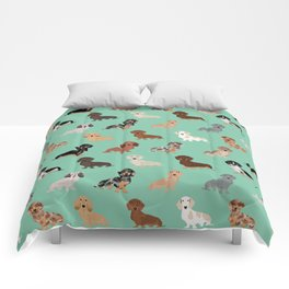 Dachshund dog breed pet pattern doxie coats dapple merle red black and tan Comforters