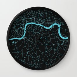 Black on Turquoise London Street Map Wall Clock