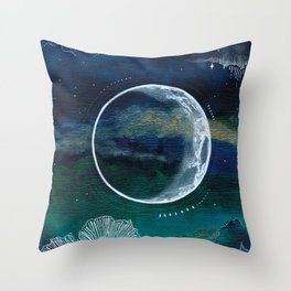 Crescent Moon Mixed Media Painting Throw Pillow