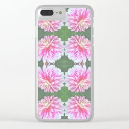 252 - Pink Flower Pattern Clear iPhone Case
