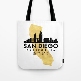 SAN DIEGO CALIFORNIA SILHOUETTE SKYLINE MAP ART Tote Bag