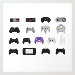 Controller Evolution (Nintendo, Sega, Playstation, Xbox)  Art Print