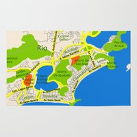 brasil Area & Throw Rugs featuring RIO map design - Brasil by Efratul