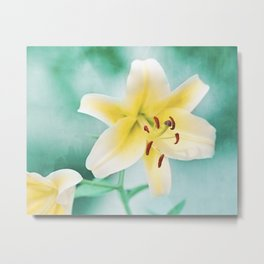 Yellow Turquoise Nature Photography, Teal Lily Flower Art, Aqua Colorful Print Metal Print