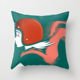 Moped Girl Throw Pillow