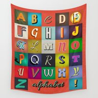 alphabet Wall Tapestries featuring Alphabet by rob art | simple