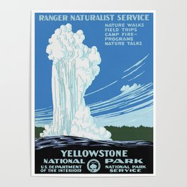 Vintage Yellowstone National Park Travel Poster