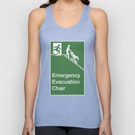 Accessible Means of Egress Icon, Emergency Evacuation Chair Sign Unisex Tank Top