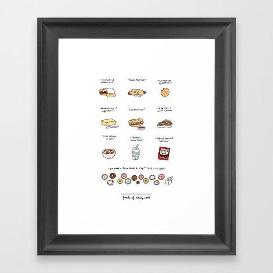 Foods of 30 Rock Framed Art Print