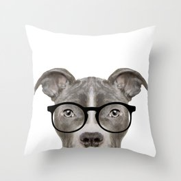 Pit bull with glasses Dog illustration original painting print Throw Pillow