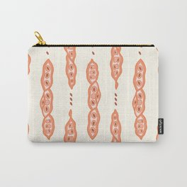 Orange Pods and Seeds Pattern Carry-All Pouch