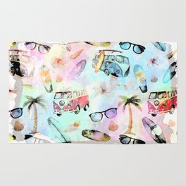 Beach time- Tropical summer watercolor pattern Rug