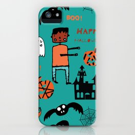 Cute Frankenstein and friends teal #halloween iPhone Case