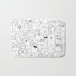 Black and white cat colouring Bath Mat
