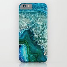 Aqua turquoise agate mineral gem stone- Beautiful backdrop Slim Case iPhone 6s
