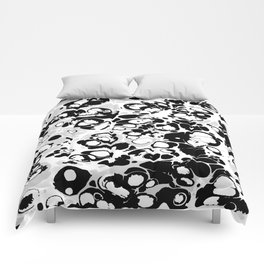 Black white gray ink paint spilled mess splashes platter effect Comforters