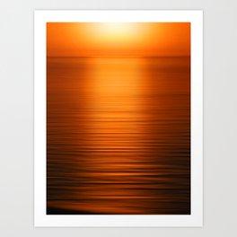 Sunset on the Water-Deep Orange Art Print
