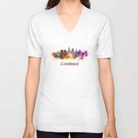 cleveland V-neck T-shirts featuring Cleveland skyline in watercolor by Paulrommer