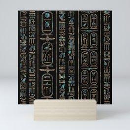 Egyptian hieroglyphs pattern Gold Abalone Mini Art Print