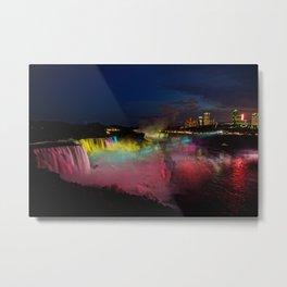 Niagara Falls Illumination Green Metal Print
