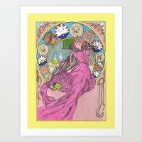 mucha Art Prints featuring Mucha Bubblegum by Joyia Kelly
