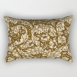 Art Nouveau Acanthus Leaves and Flowers, Brown Rectangular Pillow