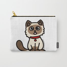 Cute Cat Peek a Boo Says, Stay At Home - Hey you, Stay Home - Siamese Birman Cat - mydoodlesateme Carry-All Pouch