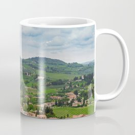 Beautiful spring froggy landscape in Tuscany countryside, Italy Coffee Mug