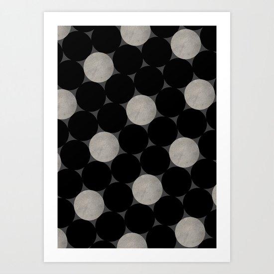 Black Polka Art Print