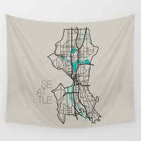 seattle Wall Tapestries featuring Seattle by linnydrez