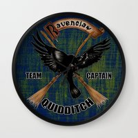 ravenclaw Wall Clocks featuring Ravenclaw team captain quidditch by JanaProject