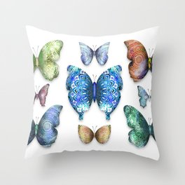 Butterfly Taxidermy // Beautiful Mandala Detailed Wings Design // Lime Green, Bright Blue, Gold Throw Pillow