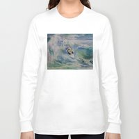 surfer Long Sleeve T-shirts featuring Panda Surfer by Michael Creese