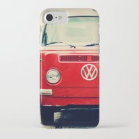 vw bus iPhone & iPod Cases featuring Red VW Bus by Anna Dykema Photography