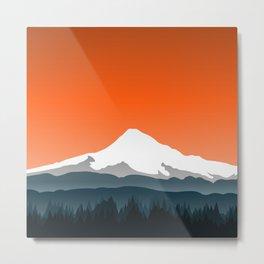 Mount Hood Winter Forest - Orange Sunset Metal Print