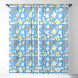 Breakfast pattern Sheer Curtain