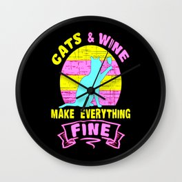 Cats funny cat wine red wine gift cat Wall Clock