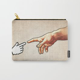 Funny 8bit Nerd & Geek Humor (Creation of Adam Parody) Carry-All Pouch