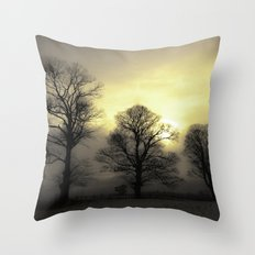 Golden Tree Landscape Throw Pillow