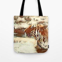 Warm colored Animal swimming tiger Tote Bag