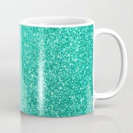 Aquamarine Aqua Blue Sparkly Glitter Coffee Mug