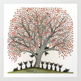 Barbados Whimsical Cats in Tree Art Print