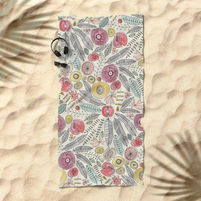feather fleur watercolor Beach Towel