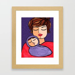 Mother and Baby - Short Brown Hair Framed Art Print