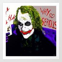 the joker Art Prints featuring joker by Saundra Myles